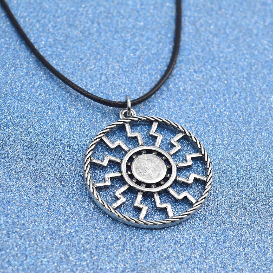 Slawischen Amulett Sonne Symbol Runde Anhänger Halskette Pagan Retro Silber Kragen Erklärung Schmuck Für Männer Frauen