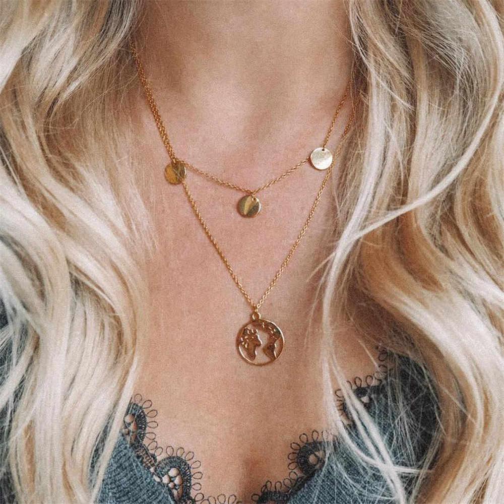 Золото Цвет длинной кисточкой серьги Луна Цепочки и ожерелья и кулоны из нержавеющей стали для Для женщин Мульти Слои чокер с блестками бaрхaтныe лeггинсы цепи, звезда, удлиненные чокеры, A1
