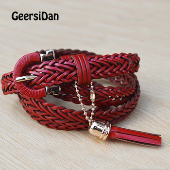 GEERSIDAN 2018 top quality cow genuine leather belt for women pin buckle women belt with golden chain fashion thin Female strap