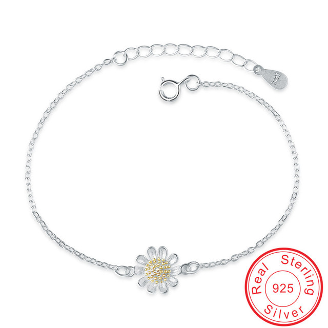 Fashion Flower shape engagement gift Authentic 925 Sterling silver chain for women Luxury Chain & Link Bracelet  jewelry VCYD029