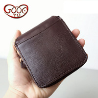 First layer of pure leather zipper square creative personality small wallet vegetable tanning leather duo card Japan and South K