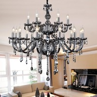 Smoke grey crystal chandelier modern living room lamp restaurant led chandelier lighting classical Candle crystal chandeliers