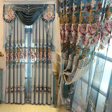 Blue Chenille Luxury Europe Embroidered Valance Curtain for Living Room Window Water Soluble Tulle Custom Made