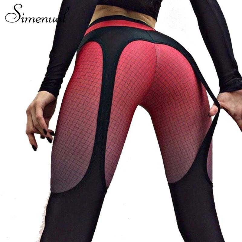 Simenual 2018 Patchwork push up leggings women sportswear plaid gradient color legging female pants bodybuilding fitness leggins