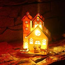 ФОТО christmas decorations for home glowing wood house cabin handmade led chalet xmas ornaments miniature house party supplies