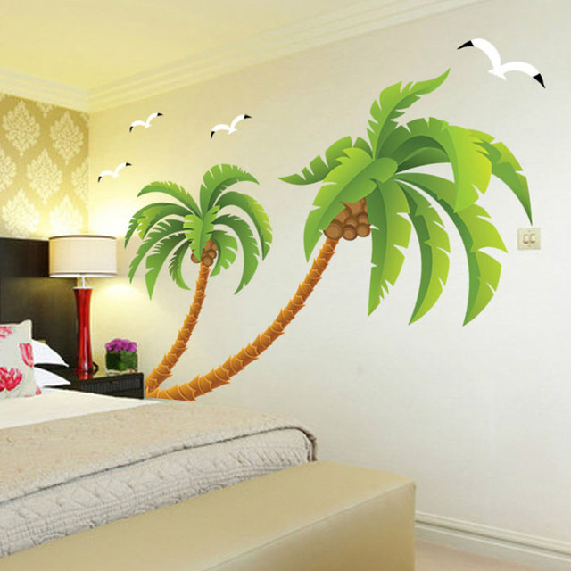 Us 22 56 Wall Stickers Coconut Tree Wallpaper Paste Wall Sticker In Wall Stickers From Home Garden On Aliexpress Com Alibaba Group