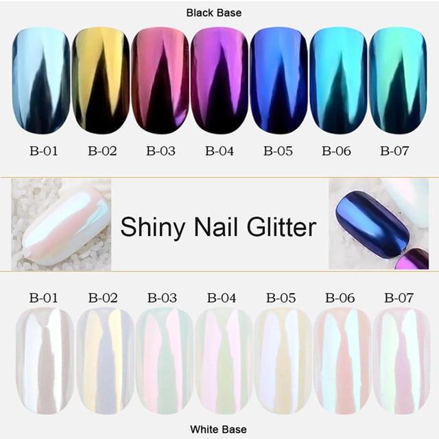 1 Juego de decoraciones de Arte de uñas de Polvo de pigmento de brillo de uñas de color dorado azul púrpura 7 colores de uñas TRB01-07