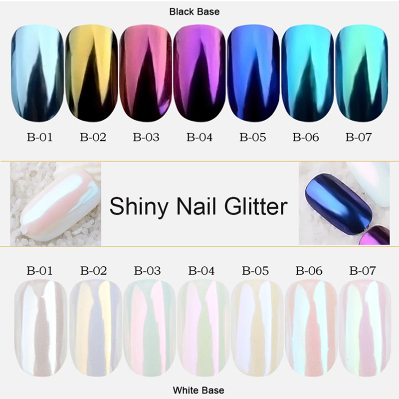 1 Set Spiegel Nagel Glitter Pigment Pulver Staub Mode Nagel Kunst Dekorationen Schimmer Gold Blau Lila 7 Farben Nagel TRB01-07