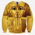 New 2016 Winter Men Women 3D Animal T-Shirt Golden Egyptian Pharaoh Printed Long Sleeve Casual Hoodies shirts Tops