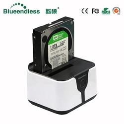Blueendless Sata USB 3.0 case hd externo 2 bay case hd Dual hdd case sata إلى usb قرص صلب خارجي قاعدة تركيب الأقراص الصلبة