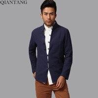 네이비 블루 전통 중국어 남성 코튼 리넨 쿵푸 자켓 코트 아우터 크기 Sml XL XXL XXXL 아저씨 chaqueta Mim15A