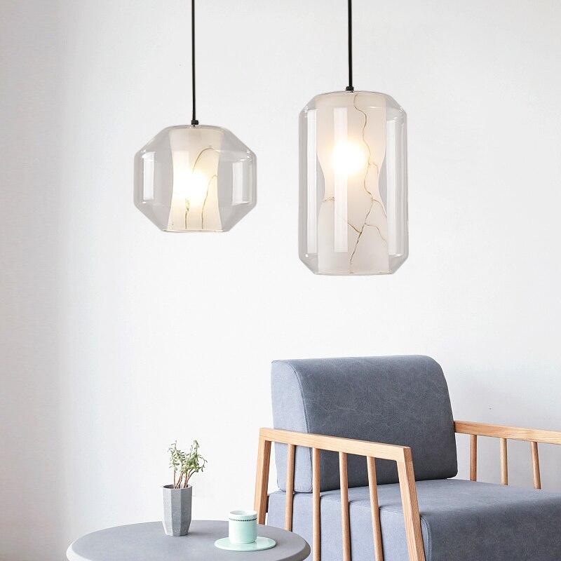Pendentif LED Postmodern lampe Design lampe suspension en verre salle à manger luminaires Luminaire motif pierre Lusters blancs