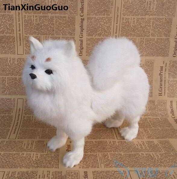 simulation dog large 28x25cm hard model polyethylene&furs white Pomeranian handicraft home decoration gift s0783 simulation pomeranian dog 29x25cm hard model polyethylene