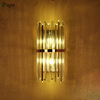Modern Luxury Lustre Cristal Led Wall Lamp Plate Black Gold Wall Light Bedside Fixtures Triangle Crystal