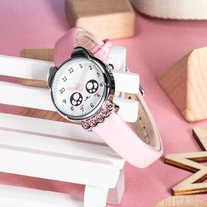 Image 3 - KDM ガール腕時計子供かわいい目ダイヤモンド防水本革腕時計素敵な子供子供たちは、学生時計