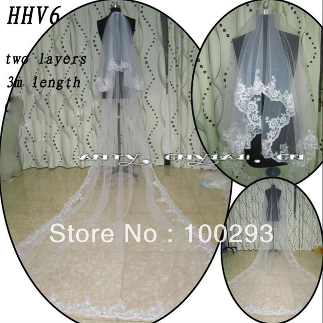 HHV6 Wholesale New Two Layers Lace Edged Beads Real Sample Bride Wedding Veil
