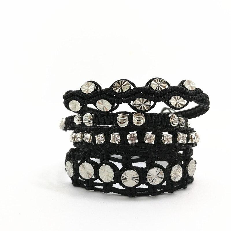 Perlas de cobre rodio pulseras trenzadas multicapa negro establece - Bisutería - foto 2