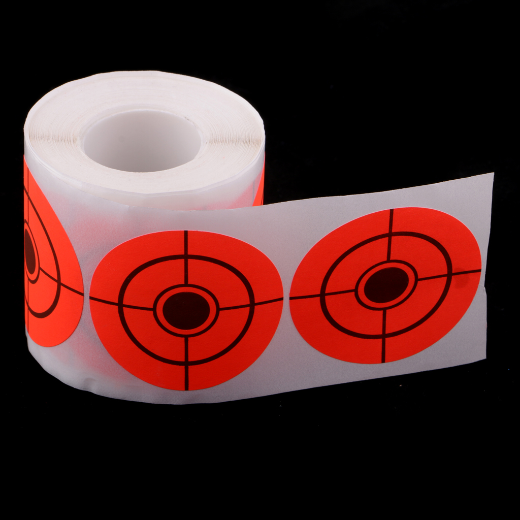 """250 Pieces 5cm/2"""" Target Sticker Roll Self-Adhesive Shooting Paper Target Roll Florescent Orange"""
