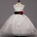 3-9yrs Natal bonito da flor do Verão Meninas Vestido Dot Vestido Desempenho Roupas Sem Mangas Princesa Vestidos de Menina Crianças Traje menina