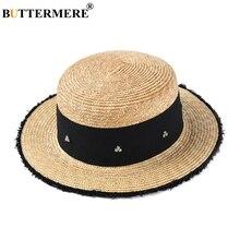 BUTTERMERE Summer Straw Hat Women Rhinestone Beach Sun Caps Ladies Beige Fashion Decorate Brand Female UV Protection