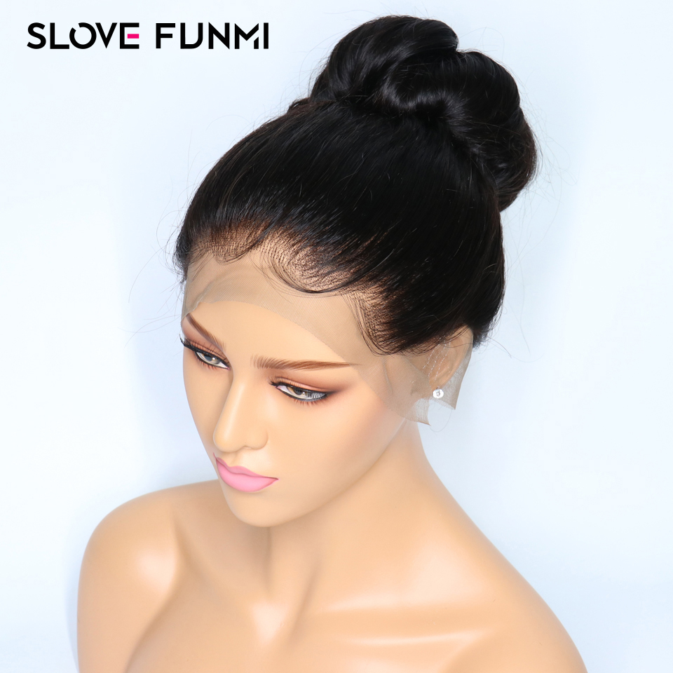 Slove Funmi 360 Lace Frontal Wig 150 Brazilian Remy Straight Lace Wigs For Black Women Pre