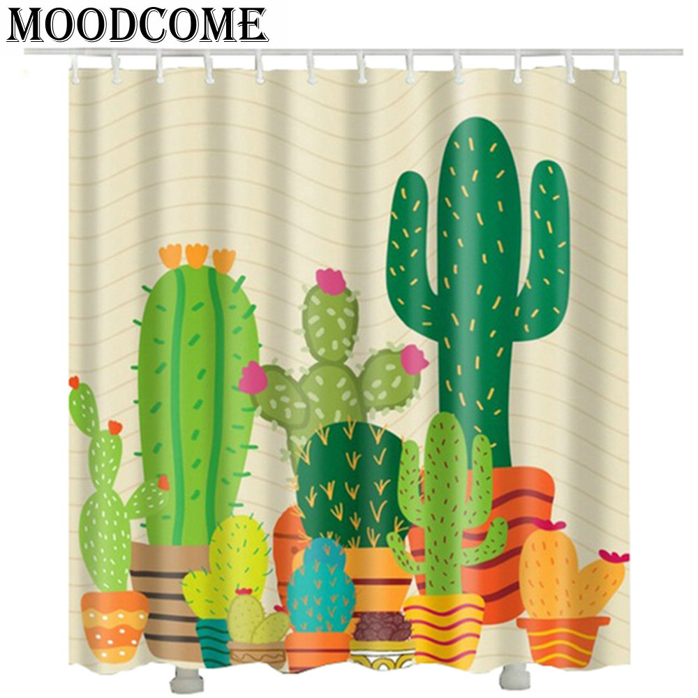 Potted plants cactus shower curtain Custom waterproof gift new arrival drop shipping bathroom curtain in Shower Curtains from Home Garden