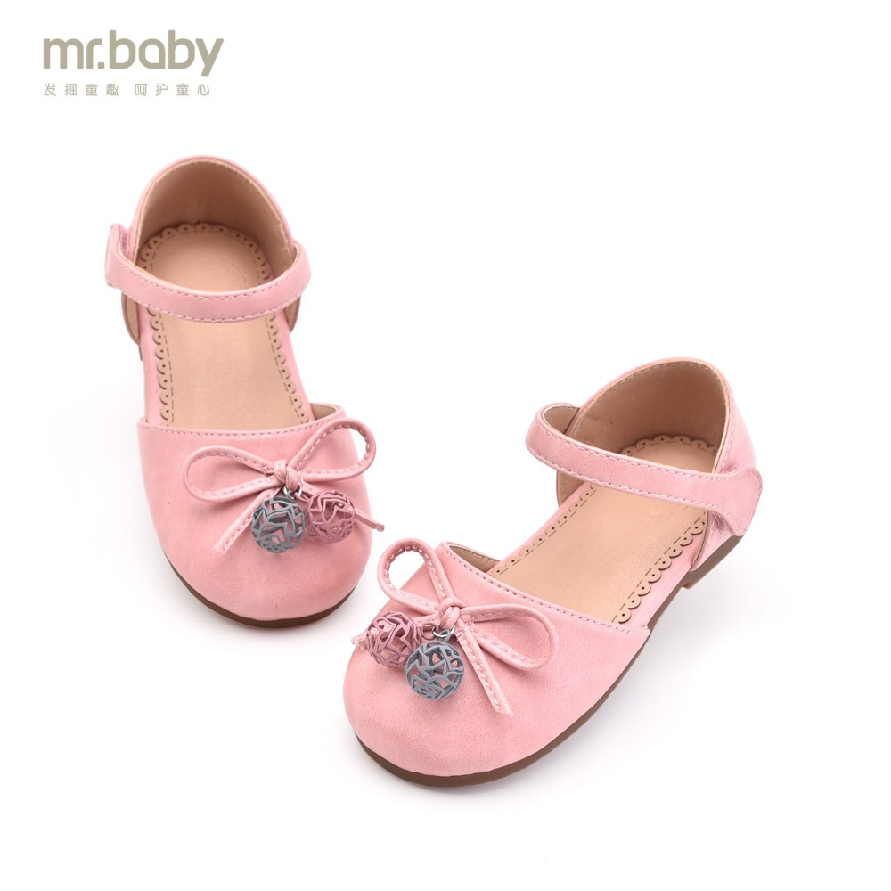 Mr.baby 2018 spring new elegant bow bell girls baby princess shoes
