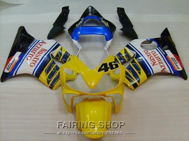 Yellow Injection Kits for Honda Fairings CBR 600F4i 2001 2002 2003 ( blue sticker ) cbr600 F4i 01 02 03 fairing kit ll85 injection molded fairing kit for honda cbr 600 f4i fairings 2001 2002 2003 blue movistar bodywork set cbr600 01 02 03 td25
