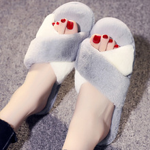 Push Winter Woman Faux Fur slippers Floor Slip on Warm Shoes non-slip flats Female spring autumn winter House Shoes faux pearl slip on plimsolls
