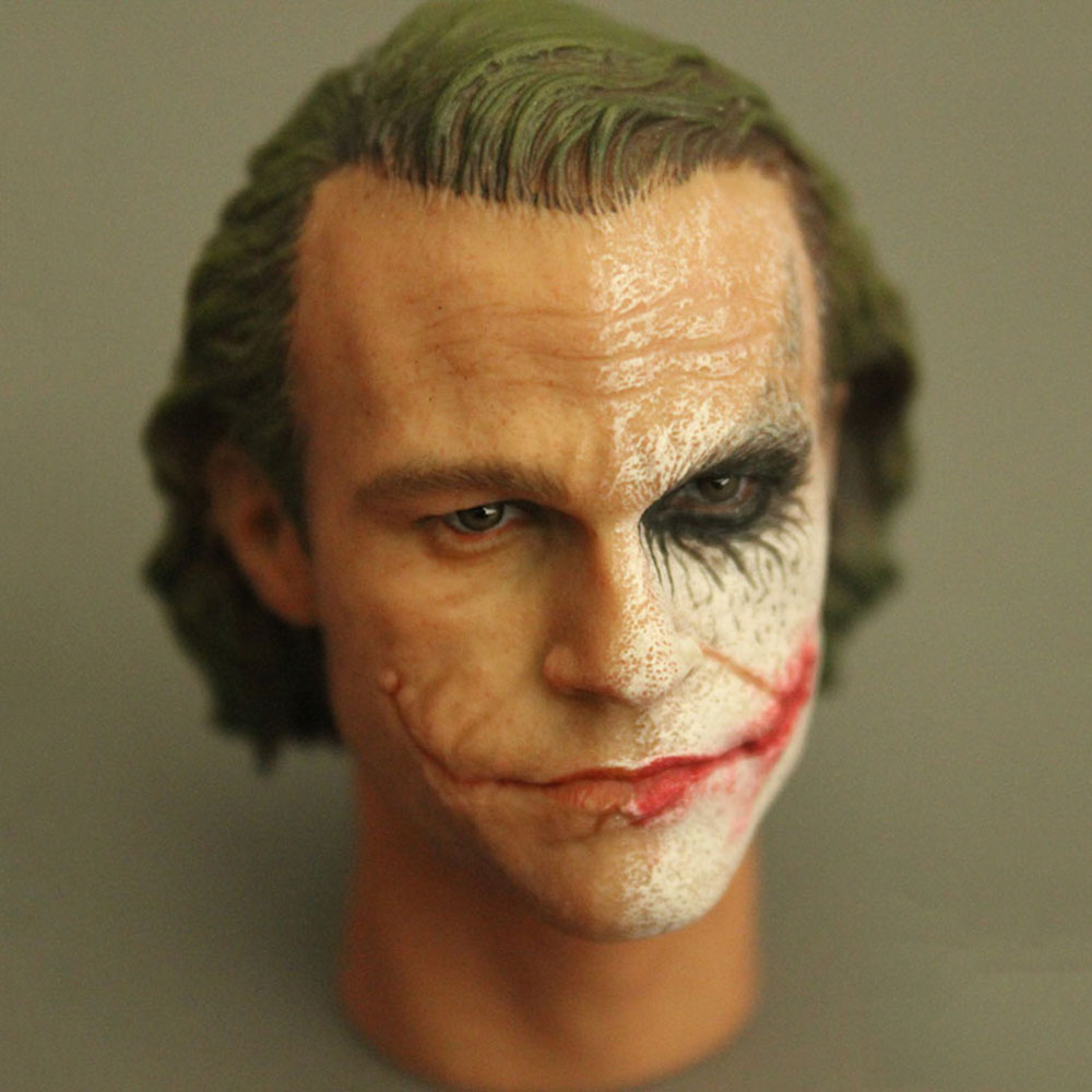 Collectible 1/6 Scale Male Figure Accessory Clown Joker Head Sculpt Carved Half Makeup Model with Neck for 12'' Action Figure