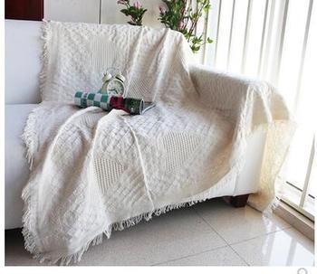 Solid color heart sofa towel Full blanket sofa cover line blanket Anti-slip bed blanket dust cover fresh cotton