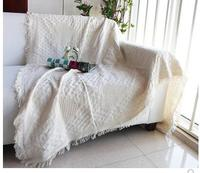 Solid color heart sofa towel Full blanket sofa cover line blanket Anti slip bed blanket dust cover fresh cotton