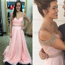 Abendkleider Puffy Rosa Chiffon Lange Abendkleider 2016 Schatz-wulstige Flügelärmeln Elegante Mädchen Prom Party Kleider