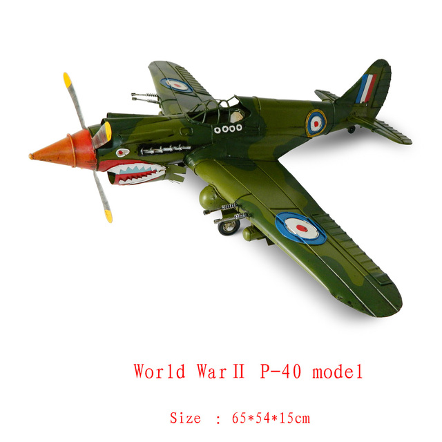 Antique craft world war two p-40 plane model handmade craft home decoration bar coffee house display birthday gift