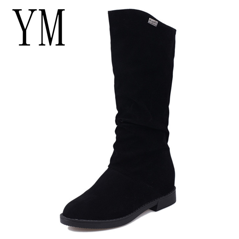2018 Fashion Women Ankle Boots High Heels Fashion Red Shoes Woman Platform Flock Buckle Boots Ladies Shoes Female PLUE 42