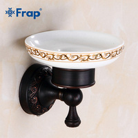 FRAP Household Wall mounted Soap Holder Pure Copper Bathroom Soap Basket Ceramic Soap Dish Separable Bathroom Supplies Y18031