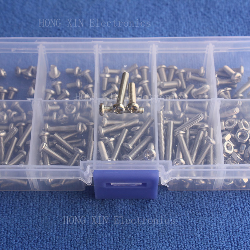 240Pcs M3 screw Metric Round Head Thread Stainless Steel PCB Screws nut Bolt Assortment kit set Fastener Hardware High Quality in Nut Bolt Sets from Home Improvement