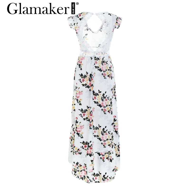 Glamaker floral Dress ... Glamaker Sexy deep V neck backless summer dress Women floral print  bohemian maxi dress Hollow out