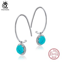 цена на ORSA JEWELS 925 Sterling Silver Dangle Earrings For Women With Turquoise Pearl Natural Stone Drop Earing Fine Jewelry Gift OSE68