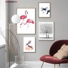 만화 동물 인쇄 포스터 플라밍고 고양이 캔버스 아이들을위한 벽에 그림 보육 홈 장식 미니멀리스트 트리 아트 그림
