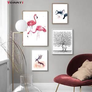 Image 1 - Animali del fumetto Stampe Poster Flamingo Gatto della Tela di Canapa Pittura Sulla Parete Per Bambini Scuola Materna Complementi Arredo Casa Minimalista Albero di Arte Immagini