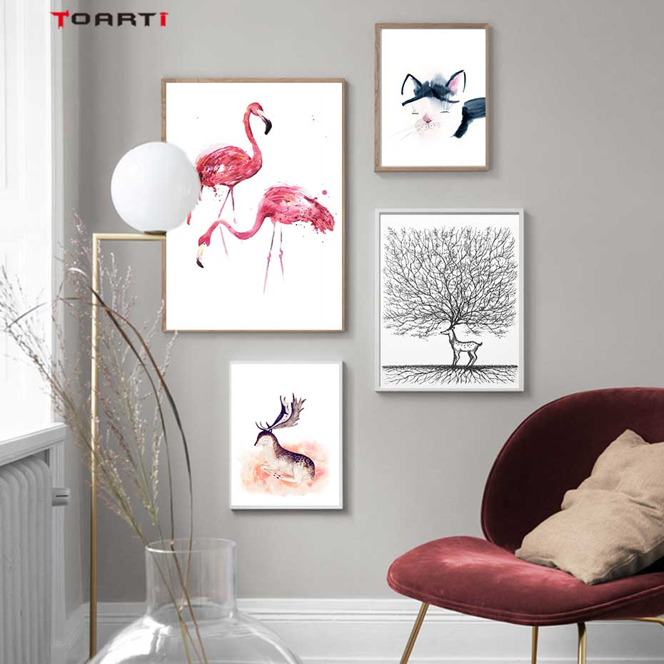 Image 1 - Cartoon Animals Prints Posters Flamingo Cat Canvas Painting On The Wall For Kids Nursery Home Decor Minimalist Tree Art Pictures-in Painting & Calligraphy from Home & Garden