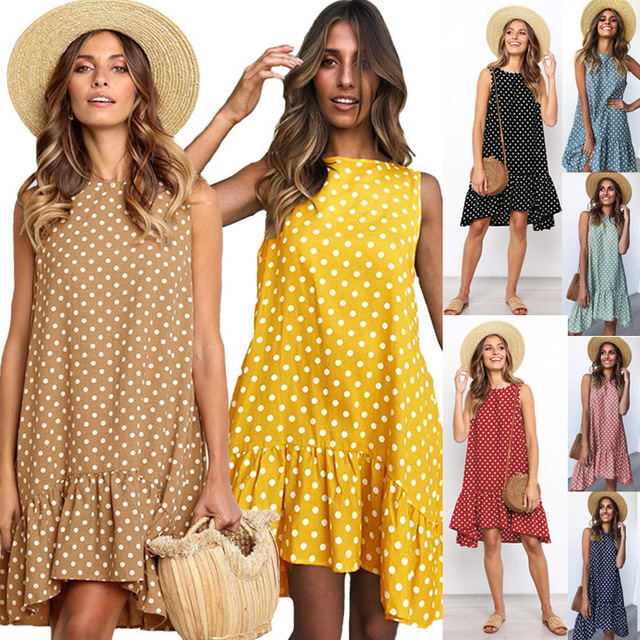 Zmvkgsoa Sexy polka dot summer dress women ruffle casual boho dresses elegant holiday beach female vestidos festa Y11498