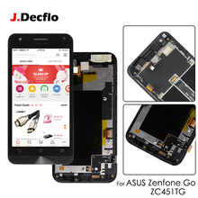 Original 4.5'' LCD Display For ASUS Zenfone Go ZC451TG LCD Touch Screen Digitizer Assembly with Frame Black