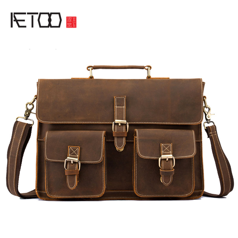 AETOO Genuine leather men's bag first layer of crazy horse leather handbag cross section business briefcase computer bag aetoo new first layer of leather men s shoulder bag leather male package cross section oblique cross bag japanese and korean ver