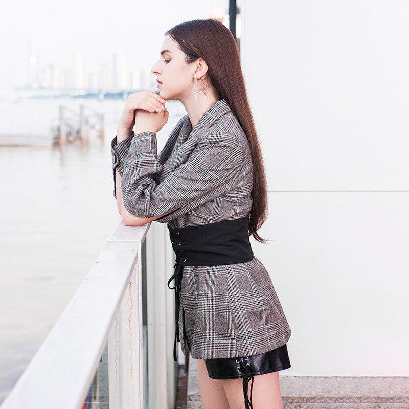 Costume Des High Style Design Ceintures Creux Blazer Avec Plaid Manches V cou Dames 2018 Street Laine Printemps Unique Femmes wqH1R