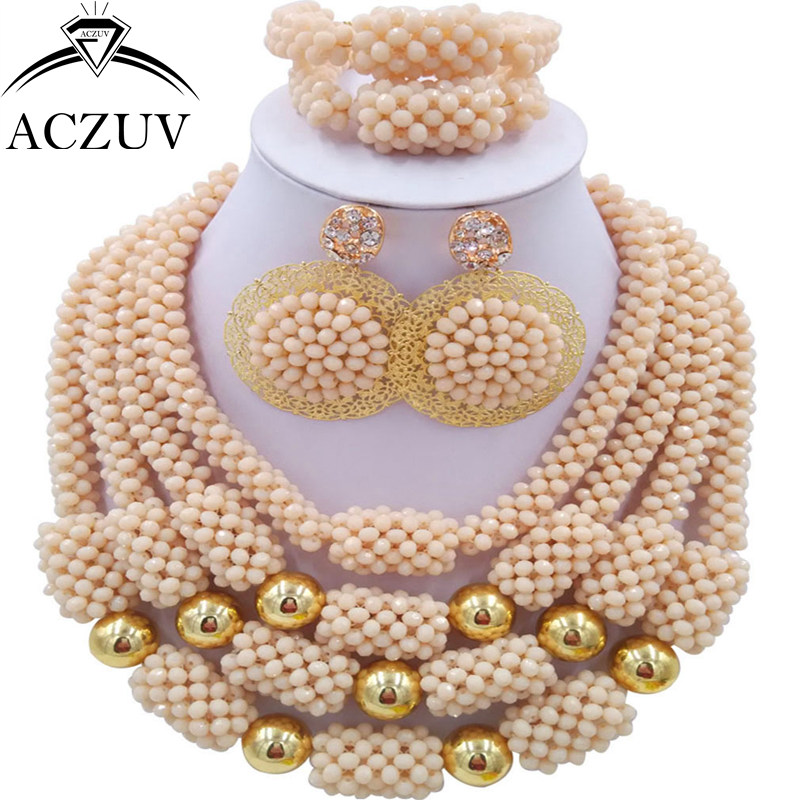 ACZUV Latest Dubai Beads Jewelry Set Crystal Ivory African Necklace Nigerian Wedding Party Jewellery Sets D4R012 цена