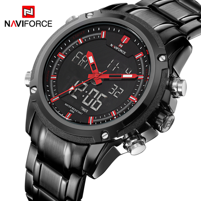 NAVIFORCE Original Luxury Brand Stainless Steel Quartz Watch Men Clock LED Digit