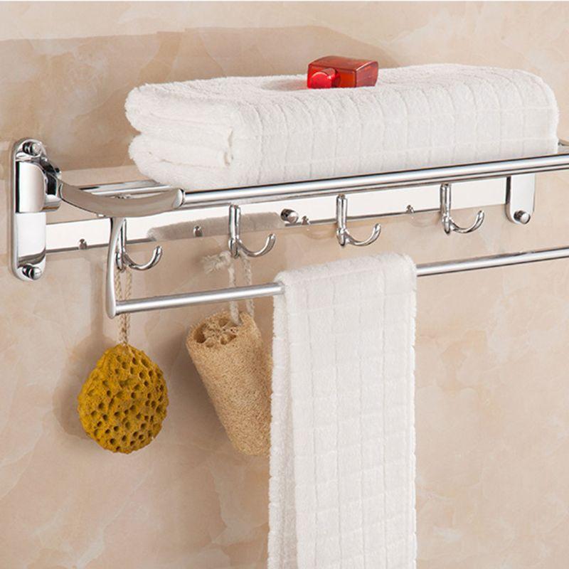 Kitchen Bathroom Organizer Door Hook Towel Bar Rack Hanging Hanger Rail Holder