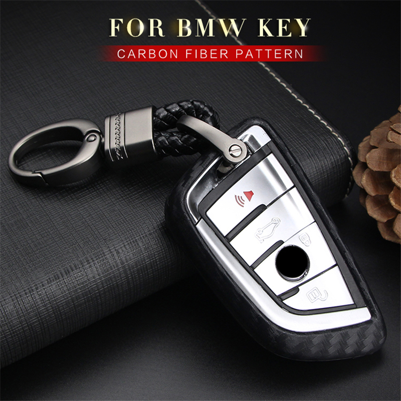 Car Keyring Key Case Cover For Bmw X1 F48 X3 E83 X5 E53 X6 2018 525i M760Li 740li Carbon Fiber Pattern Soft Silicone Key Shell